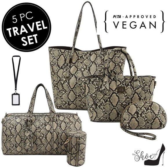 My Bag Lady Online Handbags - Tan and Black Reptile 5 Piece Luggage Set